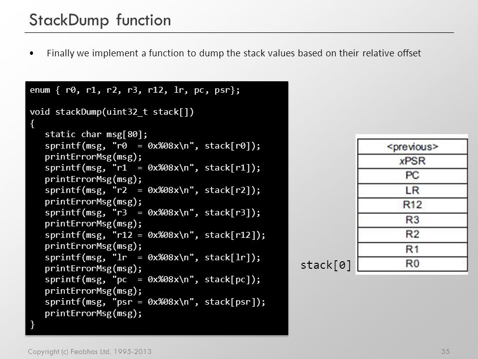 StackDump function stack[0]